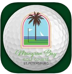 Phone App icon of a golf ball with the Mangrove Bay Logo for Mangrove Bay Golf phone app.